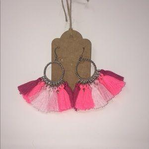 Silver and Pink Ombré TASSEL Earrings